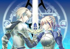 Saber (Arthur Pendragon) from Fate/Prototype and Saber (Arturia Pendragon) from Fate/Stay Night. Both are holding on to the sword, Excalibur, in this pic.