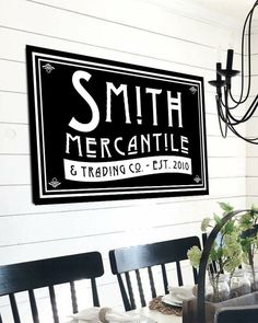 Personalized Last Name Sign – Modern Farmhouse Wall Decor - Diy Table Models 2019 Farmhouse Style Kitchen, Modern Farmhouse Kitchens, Farmhouse Design, Home Decor Kitchen, Rustic Farmhouse, Farmhouse Ideas, Kitchen Ideas, Farmhouse Interior, Industrial Farmhouse