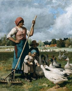Children Feeding Geese by Julien Dupre Country Realism Art Print Canvas Louis Aston Knight, Art Canard, Photo Humour, Julien, Victorian Art, Realism Art, Museum Of Fine Arts, French Artists, Art Reproductions