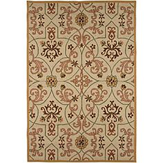 @Overstock.com - Hand Hooked Polypropylene Area Rug (2' x 3') - Inspired by the rich history and range of design movements that have defined the architecture of Spain's cultural center. This rug features an abstract print in tones of brown, green and pink on a sand background.  http://www.overstock.com/Home-Garden/Hand-Hooked-Polypropylene-Area-Rug-2-x-3/6506416/product.html?CID=214117 $26.21