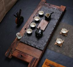 Black stone and old boat wood tea tray displaying by Chinateaware
