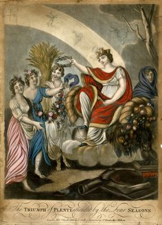 """""""The Triumph of Plenty attended by the Four Seasons"""". Plenty sitting on clouds, flanked by cornucopias with a castle crown and holding a key, holding a garland, with srping, summer and autumn on the left and winter on the right; a bow of light descending to Plenty's head from upper left, with the signs of the Zodiac. 1802 hand-coloured mezzotint."""