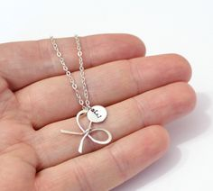 Sterling silver Bridesmaid Bow knot necklaces, with personalized initial charm, handmade bridal jewelry, bridesmaid gift, Girlfriend gift by BridesmaidsGiftNicol on Etsy