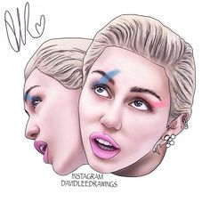Digital drawing of Miley Cyrus! https://instagram.com/davidleedrawings/?hl=en #MileyCyrus