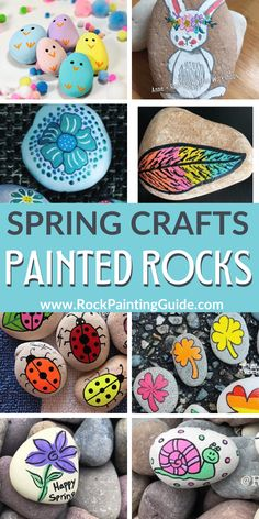 Get inspired with these easy spring crafts painted rock ideas. Patrick's Day crafts, Easter bunny crafts, and more! Rock Painting Patterns, Rock Painting Ideas Easy, Rock Painting Designs, Painting For Kids, Stone Crafts, Rock Crafts, Arts And Crafts, Pebble Painting, Stone Painting