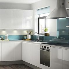 Flat White Cabinet Doors and Aqua Backsplash