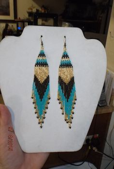 Native American Style Beaded Turquoise Gold by BeadedCreationsetc