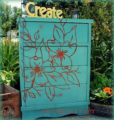 ART IS BEAUTY: Dogwood Dresser Makeover with KRINK marker and Ce Ce Caldwell paint