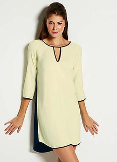 Stylish tunic dress in a modern high contrast design with a fresh lime shade on the front and a black insert on the back which coordinates with the trim. This modern dress style has been designed with three-quarter length sleeves and a v-neck cut out at the front.French Connection Dress Features:  Colour: Lime  Dry Clean  96% Cupro, 4% Elastane  Length approx. 92 cm (36 ins)