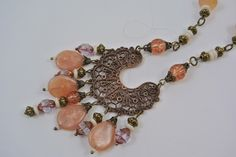 Vintage blush pink. Pendant with dangles, Vintage French Filigree, Handmade bead chain, Howling Dog Jewelry by HowlingDogJewelry on Etsy https://www.etsy.com/listing/478901529/vintage-blush-pink-pendant-with-dangles