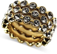 Givenchy Gold 10k Goldplated Swarovski Element Stacked Ring