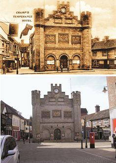 Horsham Town Hall is a building in two parts. The old market house on the site had been used for the assizes and was converted into a town hall in 1812. In 1888 it was completely rebuilt except for the north front (seen here) with the arms of the  Crown, Horsham and the Dukes of Norfolk. The postcard of 1905 is unusual in that it advertises the Temperance Hotel founded by Jury Cramp, the owner of a jeweller's shop. (Reproduced with kind permission of Cecil Cramp)