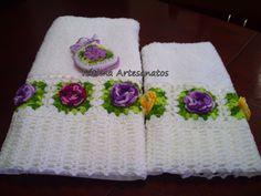 barradinhos+de+croche | Fau crochê.....: Jogo de toalhas de banho com barrado em ...