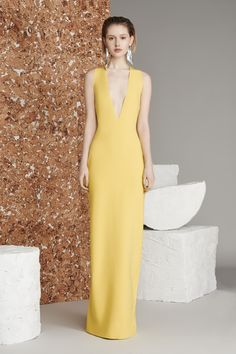 Grace | plunging bodycon dress in yellow by Solace London