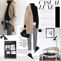 """Casual Luxe"" by bellamarie on Polyvore camel coat, grey trousers, black turtleneck"