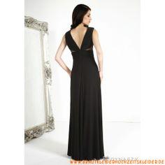 V-ausschnitt Chiffon Schwarz Rückenfrei Glamoures Abendkleid mit Perlenstickerei