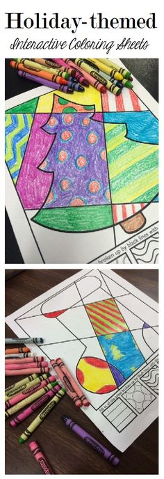 """A collection of """"Pop Art"""" style interactive coloring sheets for Christmas and all holidays!"""