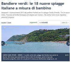 Gabicce mare è BANDIERA VERDE: scelta tra le spiagge a misura di bambino secondo i pediatri italiani. Fonte: Corriere della Sera #Gabiccemare #bandieraverde #famiglia #destinazionemarche