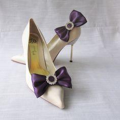 Purple Ribbon Bow And Rhinestone Shoe Clips by Chuletindesigns, $22.00 Satin Sash, Blue Satin, Purple Ribbon, Ribbon Bows, Rhinestone Shoes, Shoe Clips, Kitten Heels, Wedding Day, Glamour