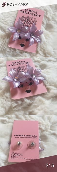 "🆕Tarina Tarantino flower earrings Brand new and super cute lavender colored flower earrings with a jewel in the center of each. Lightweight. Flower is approx 2"". Tarina Tarantino Jewelry Earrings"