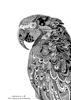 震撼的线描画。猫头鹰