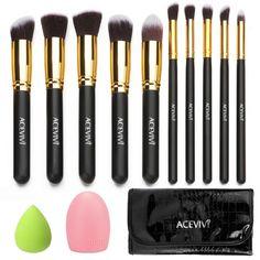 10 PCS Makeup Face Brush W/ Carrying Bag + Puff Sponge + Brush Cleaner - Freshtops Marketplace