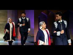 Abhishek with mom Jaya Badhuri walks the ramp at Mijwan Fashion Show 2015.