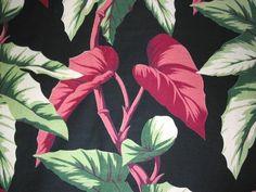 Vintage Black Tropical Barkcloth by Niesz Vintage Fabric, via Flickr