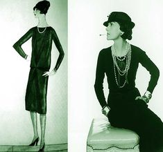Chanel Little Black-Dress 1926. It's difficult to say for certain whether she invented it, but Chanel's dropped waist dress creations between 1918 – 1920 certainly heralded the 'flapper' look of the coming decade. Her own personal favorite color being black, inadvertently -  led her to 'invent' the 'little black dress' in 1926. A simple low back evening dress – but it was destined to become truly iconic.