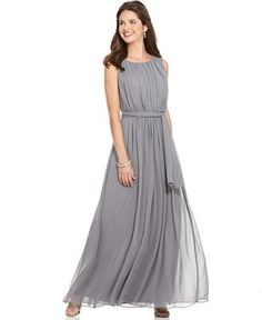 Calvin Klein Sleeveless Pleated Belted Evening Gown