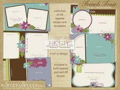 recipe card templates ::: french toast Recipe Card Boxes, Recipe Cards, Recipe Binders, Card Templates, Scrapbooks, Digital Scrapbooking, Thank You Cards, Free Printables, Invitations