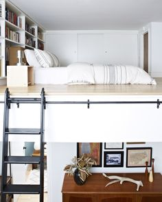 I love this loft! The closet at the foot of the bed connects to another loft which would be perfect for the girls :) Adult Loft Bed, Brooklyn Apartment, Modern Bookcase, Tiny House Living, Bedroom Loft, Loft Spaces, Decorating Small Spaces, Decorating Tips, Small Space Living