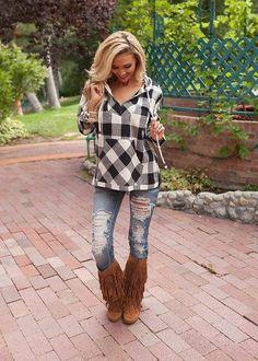 Online boutique. Best outfits. Mellow Beauty Black Plaid Hoodie - Modern Vintage Boutique
