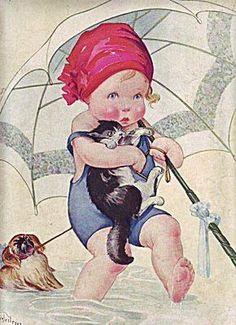umbrellas.quenalbertini: Cute vintage illustration | Artist unknown