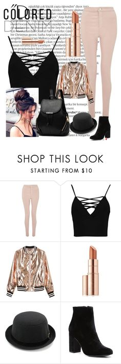 """""""Pink jeans"""" by skyblue274 ❤ liked on Polyvore featuring Balmain, Miss Selfridge, Boohoo, Sans Souci, Estée Lauder, Witchery and coloreddenim"""