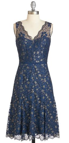 Navy Blue Dress with Gold Floral Lace Overlay