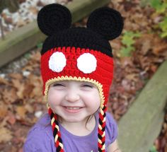 Custom Crocheted Mickey Mouse Inspired Hat - ALL sizes available. $20.00, via Etsy.