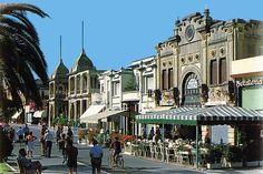 Viareggio, traditional beach resort promenades and old fashioned hotels long beach to the sea