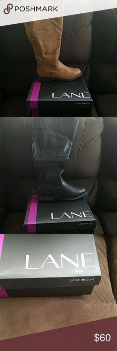 Wide Calf boots by Lane Bryant ******FLASH SALE********* Women's wide calf boots by Lane Bryant in two colors and a leather exterior,both are a size 8W. 1 pair available in black 1 pair available in brown ***********FREE GIFT WITH PURCHASE********** Lane Bryant Shoes Winter & Rain Boots