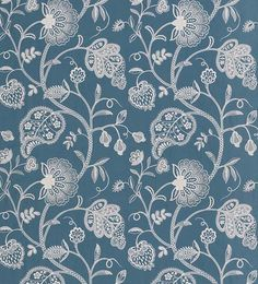 Anopura Fabric An embroidered curtain fabric featuring a stylised tree of life design in ivory on sky blue (fabricsandpapers)