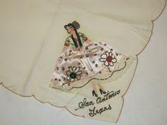 Vintage Souvenir Hankie San Antonio Texas Senorita