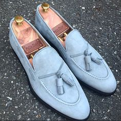 Light grey suede loafers. Smooth! Available on FelixFlair.com this Thursday May 14th.