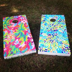My very own homemade Lilly Pulitzer cornhole boards! #lillypulitzer