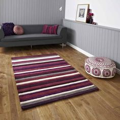 Hong Kong Rugs 2022 Purple Cream Stripes Online From The Rug Er Uk