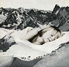"""""""Silent Rescue,"""" original figurative collage by artist  Sammy Slabbinck (Belgium) available at Saatchi Art #SaatchiArt"""