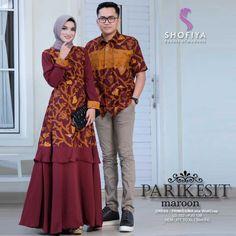 Model Baju Batik Couple Gamis Seri Parikesit   Batik Bagoes Solo Muslim Fashion, Hijab Fashion, Fashion Dresses, Batik Muslim, Batik Fashion, Maxi Dress Wedding, Batik Dress, Indonesian Wedding, Abayas