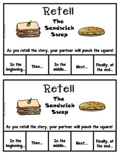 FREEBIE Punch It Out Partner Retell! activities total in product) for the lovely book The Sandwich Swap. A must read for your class. or color Great book for tolerance and friendship themes. Retelling Activities, Reading Response Activities, Reading Centers, Reading Intervention, Reading Strategies, Teaching Reading, Reading Comprehension, Kindergarten Anchor Charts, Kindergarten Writing