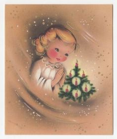 Vintage-Greeting-Card-Christmas-Tree-Little-Girl-Praying-Mid-Century-Norcross