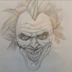 A sketch of the joker after being inspired by the dark knight