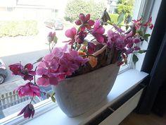als je verder niet veel plek in huis hebt voor bloemen en een druk leven - vensterbank decoratie met zijdebloemen in betonlook bak
